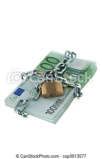 Euro bank notes with a lock and chain. - csp3913577