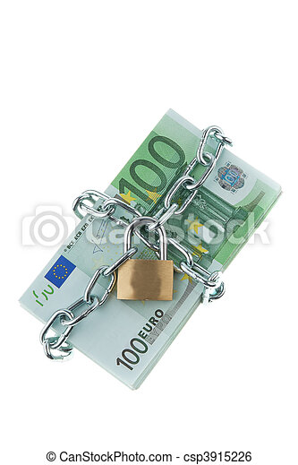 Euro bank notes with a lock and chain. - csp3915226