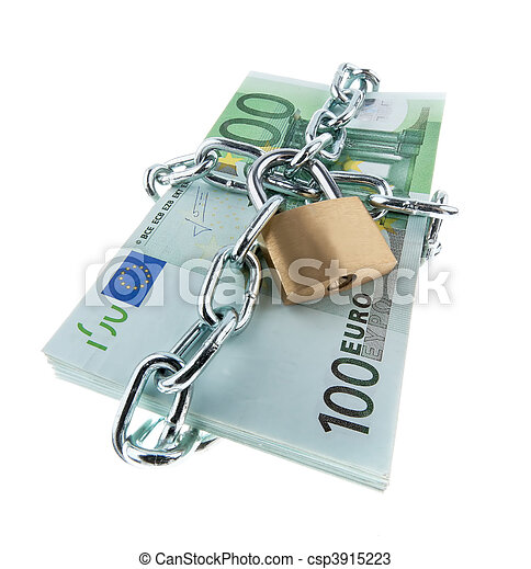 Euro bank notes with a lock and chain. - csp3915223