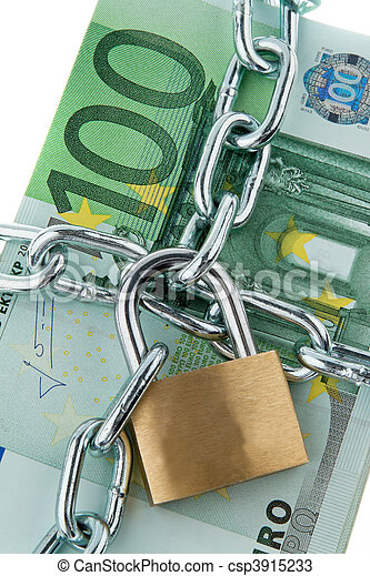 Euro bank notes with a lock and chain. - csp3915233