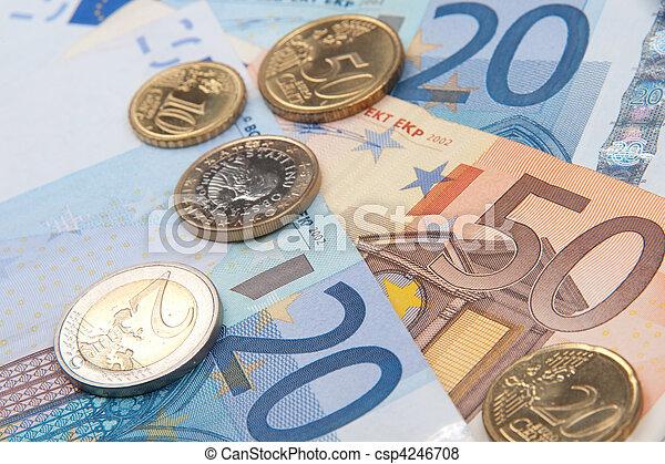 euro banknotes and coins - csp4246708