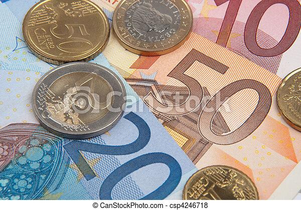 euro banknotes and coins - csp4246718