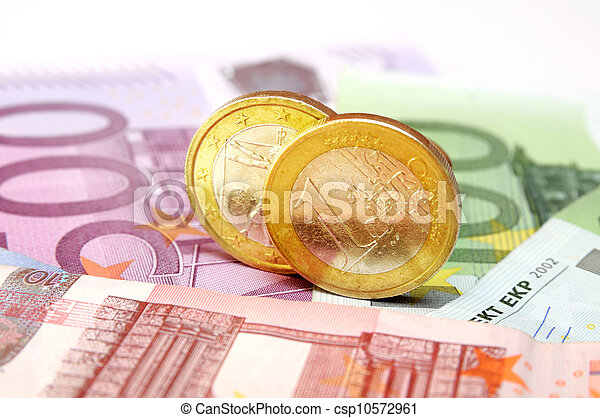 Euro banknotes and coins - csp10572961