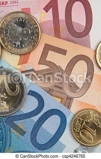 euro banknotes and coins - csp4246765