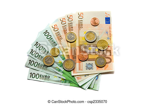 Euro banknotes and coins - csp2335070