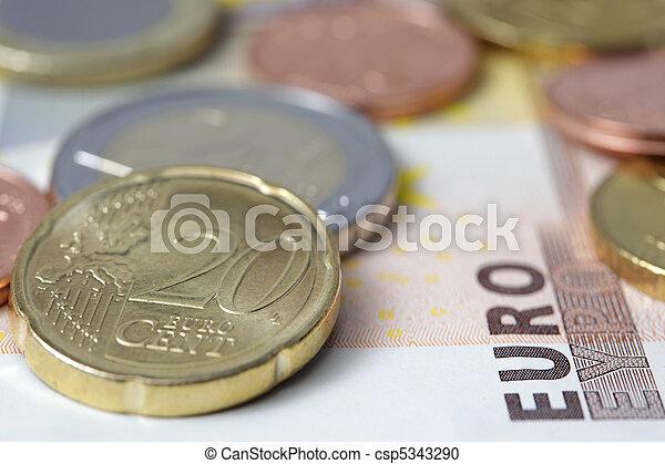 Euro banknotes and coins - csp5343290