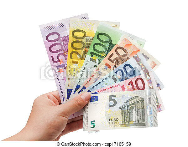 euro banknotes in hand on white%uFFFC  - csp17165159
