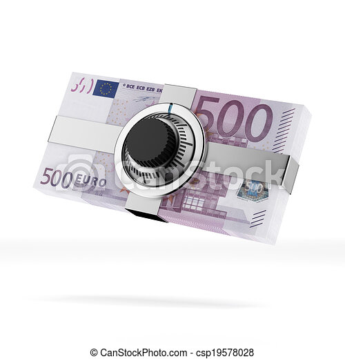Euro banknotes with lock - csp19578028