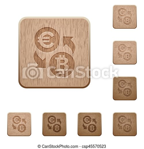 Euro Bitcoin money exchange wooden buttons - csp45570523
