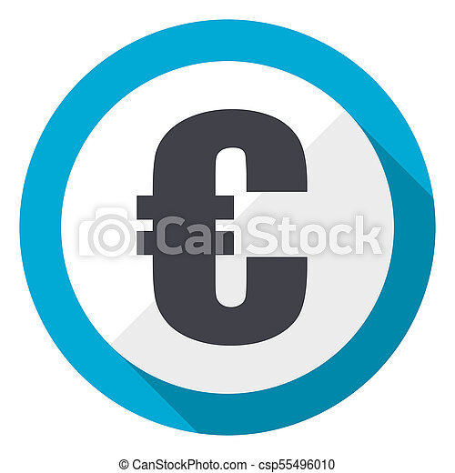 Euro blue flat design web icon - csp55496010