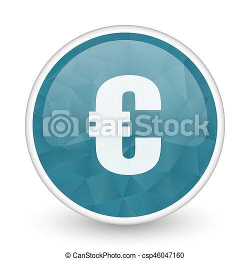 Euro brillant crystal design round blue web icon. - csp46047160