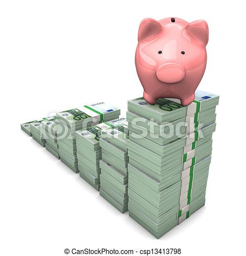 Euro Chart Piggy Bank - csp13413798