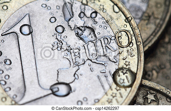 euro coin detail with water drops - csp14262297