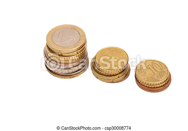 Euro coins isolated on white background - csp30008774