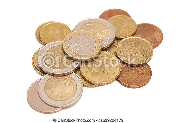 Euro coins isolated on white background - csp39204179
