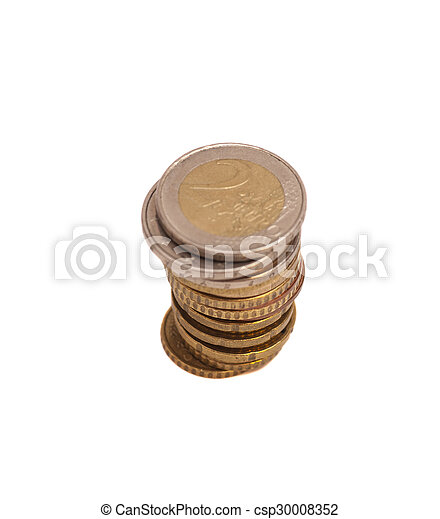 Euro coins isolated on white background - csp30008352