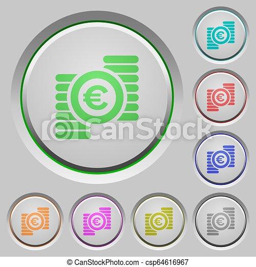 Euro coins push buttons - csp64616967