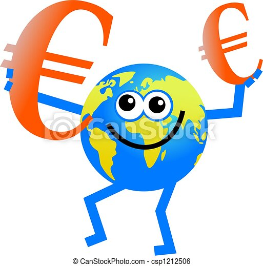 Euro Globe Cartoon Globe Man Holding In Euro Currency Symbol In