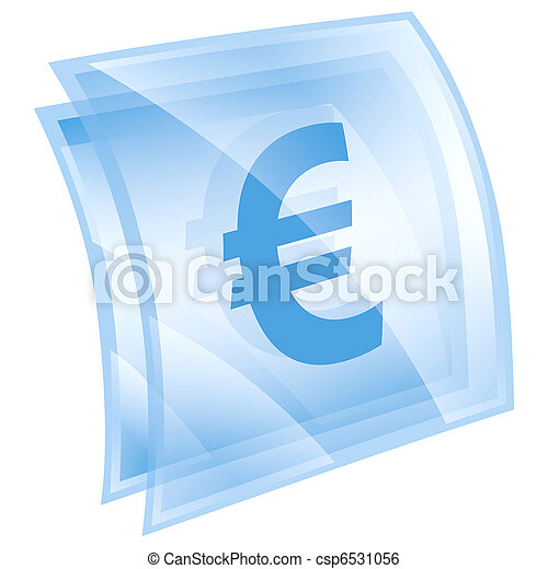 Euro icon blue, isolated on white background - csp6531056