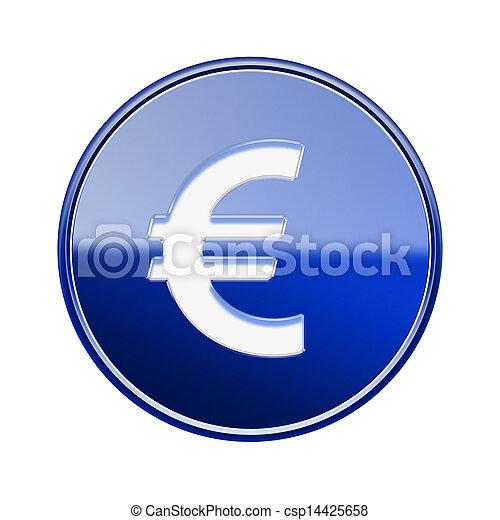 Euro icon glossy blue, isolated on white background - csp14425658