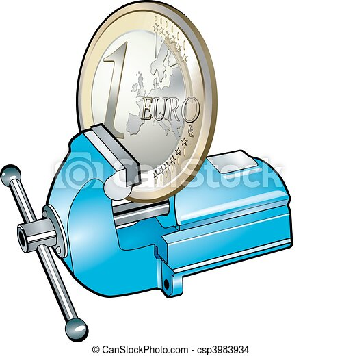 euro in bench vice - csp3983934