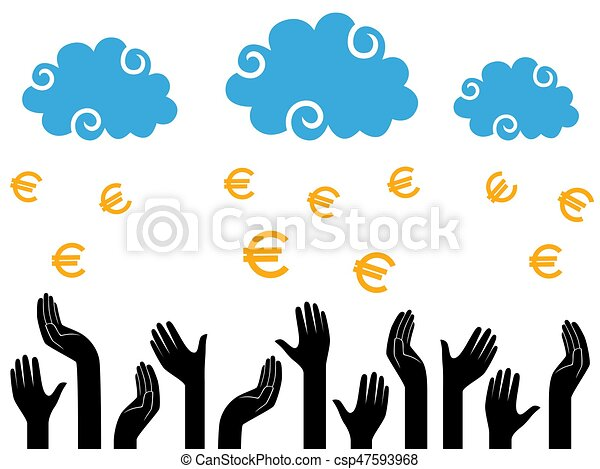 Euro Money falling from the clouds in the human hands - csp47593968