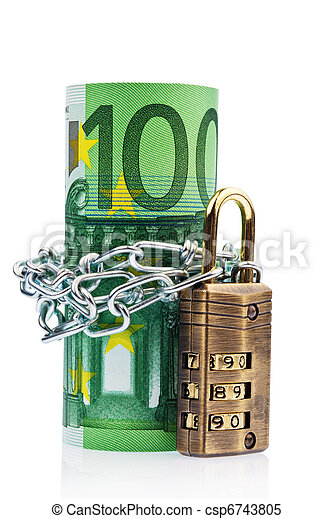 Euro notes with lock and chain - csp6743805