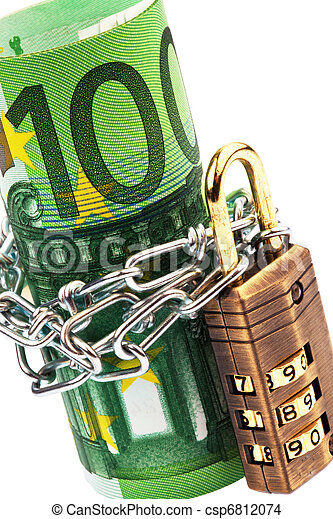 Euro notes with lock and chain - csp6812074