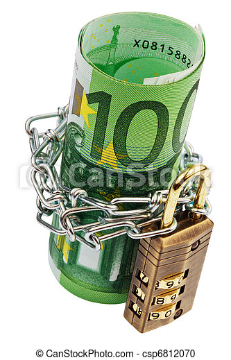 Euro notes with lock and chain - csp6812070