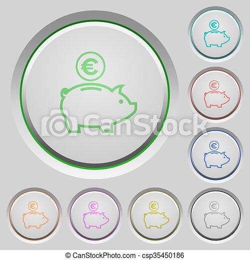 Euro piggy bank push buttons - csp35450186