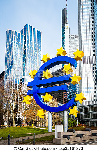 Euro Sign. European Central Bank (ECB) is the central bank for the euro and administers the monetary policy of the Eurozone - csp35161273