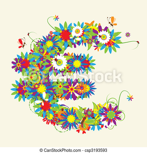 Euro sign. Floral design. See also signs in my gallery - csp3193593