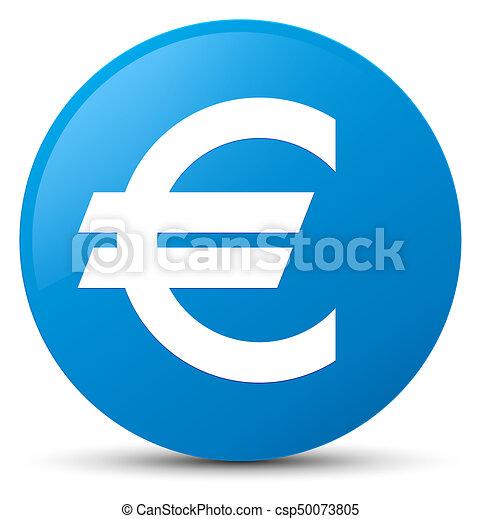 Euro sign icon cyan blue round button - csp50073805