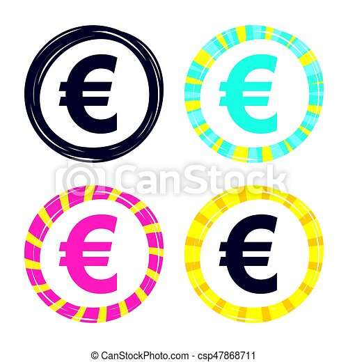 Euro Sign Icon Eur Currency Symbol Money Label Colored Buttons