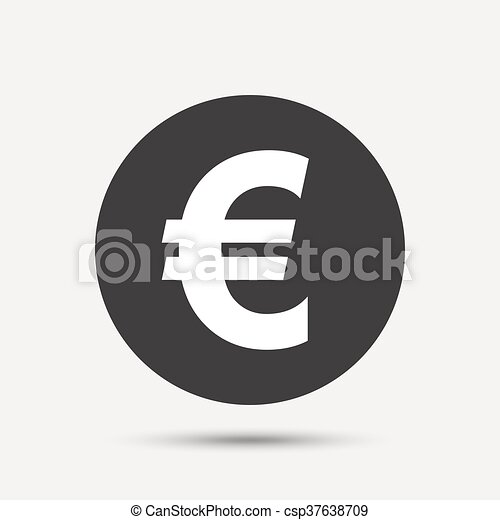 Euro Sign Icon Eur Currency Symbol Money Label Gray Circle Button