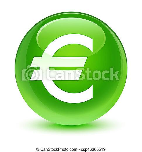 Euro sign icon glassy green round button - csp46385519