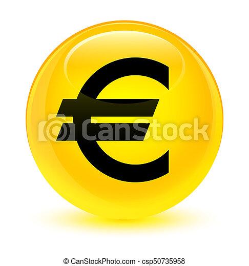 Euro sign icon glassy yellow round button - csp50735958