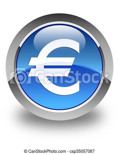 Euro sign icon glossy blue round button - csp35057087