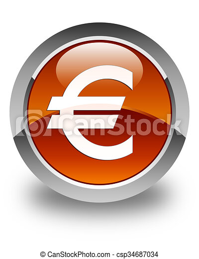Euro sign icon glossy brown round button - csp34687034