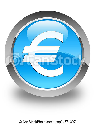 Euro sign icon glossy cyan blue round button - csp34871397