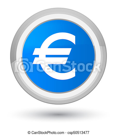 Euro sign icon prime cyan blue round button - csp50513477