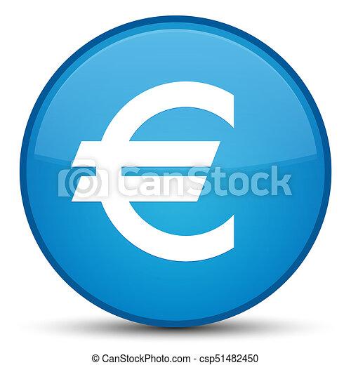 Euro sign icon special cyan blue round button - csp51482450