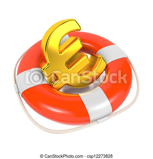 Euro Sign in Red Lifebuoy. Isolated on White. - csp12273828