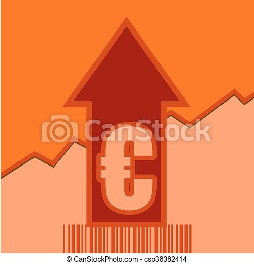 Euro sign on grow up arrow and bar code - csp38382414