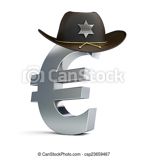 3959df6c euro sign sheriff hat on a white background - csp23659467