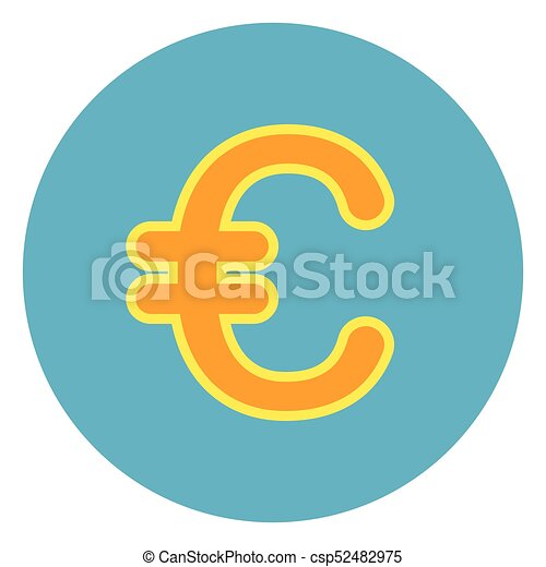 Euro Sign Sign Icon On Blue Round Background - csp52482975