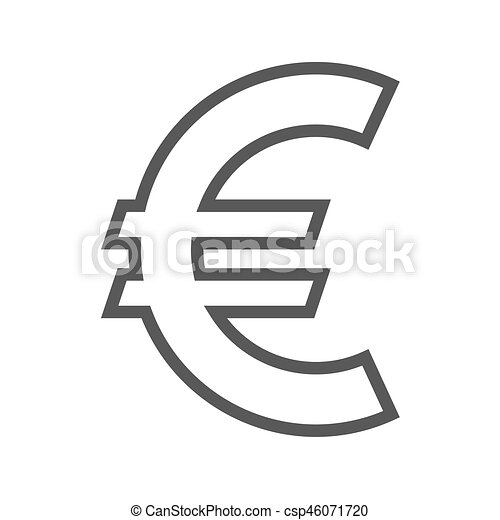 Euro Sign Thin Line Vector Icon Flat Icon Isolated On The White