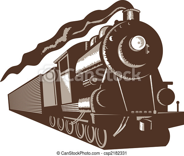 Euro steam train front view - csp2182331