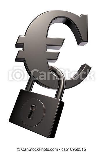 euro symbol and padlock - csp10950515