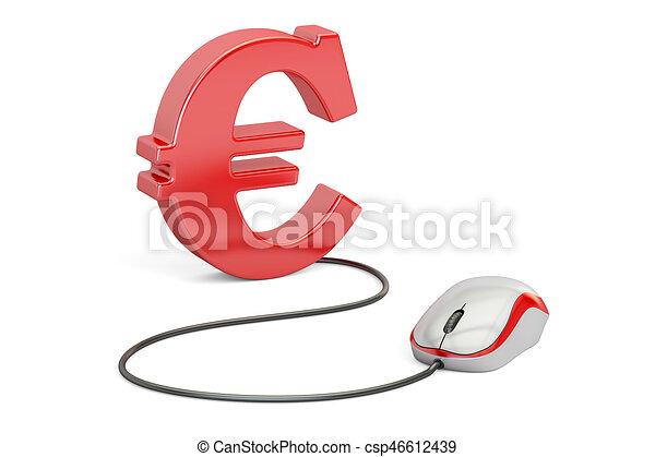 Euro symbol with computer mouse. make money online concept, 3d ...